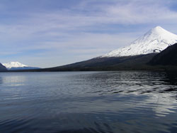 paddling towards Osorno  and  Calbuco volcanoe