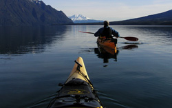 paddling in winter towards Calbuco volcanoe