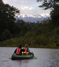 canoeing  in front Calbuco volcanoe in Winter